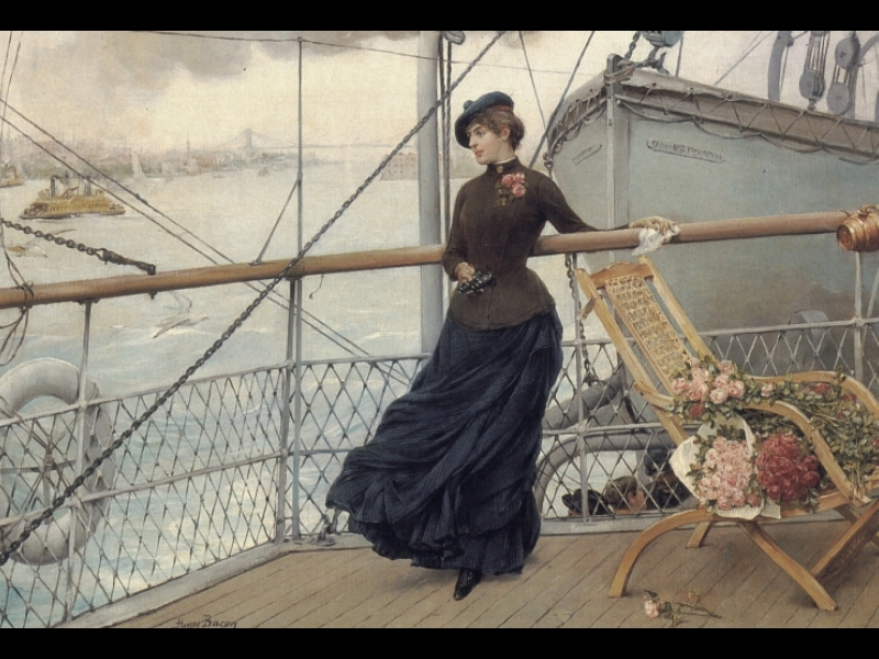 A_Scottish_Lady_On_A_Boat_Arriving_In_New_York